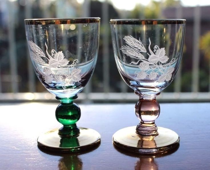 Special Vintage Set Schnapps or LIQUOR Glasses Green & Pink Glass With Gilding  #VINTAGESHOTGLASS #GLASS