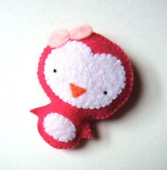 Cute Penguin Felt Brooch Pink White Handmade Felt Pin by mikaart, $14.99