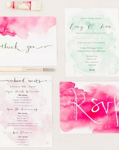 Okay stop it...these are too beautiful -- DIY Watercolor Wedding Invites and Save the Dates.