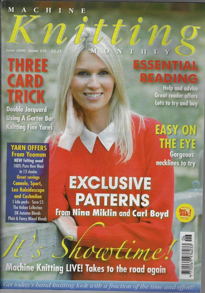 Machine Knitting Monthly magazine June 2008 Issue 125 cardigan sweater baby
