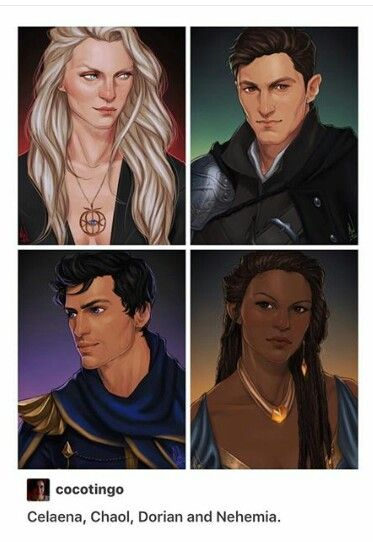 Beautiful, but I do have a few issues with this: Aelin's hair is supposed to be gold, not that pale color; Chaol's hair isn't that dark; Dorian should be significantly more attractive than Chaol, who should be more rugged than pretty; and... Nehemia is pretty much perf