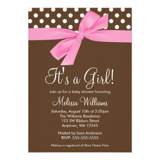Brown and Pink Baby Shower Invites