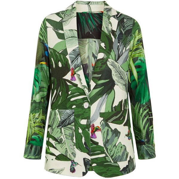 Max Mara Printed linen and silk-twill blazer (1,685 SAR) ❤ liked on Polyvore featuring outerwear, jackets, blazers, linen blazer, colorful jackets, structure jacket, multi color blazer and linen jackets