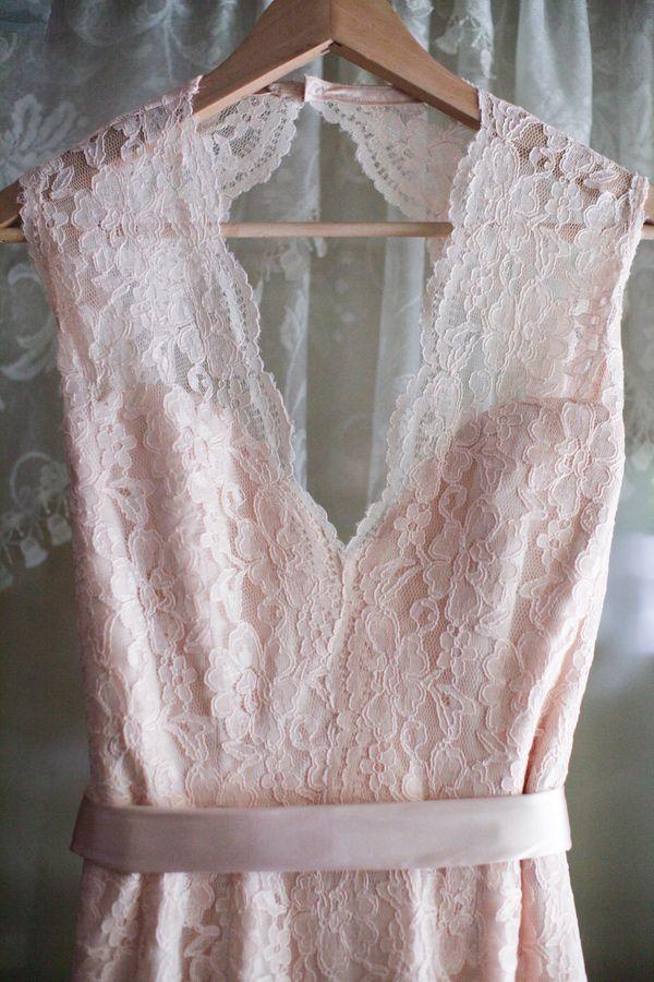 blush pink lace, photo by Alders Photography http://ruffledblog.com/oxnard-barn-wedding #weddingdress #fashion #pinklace