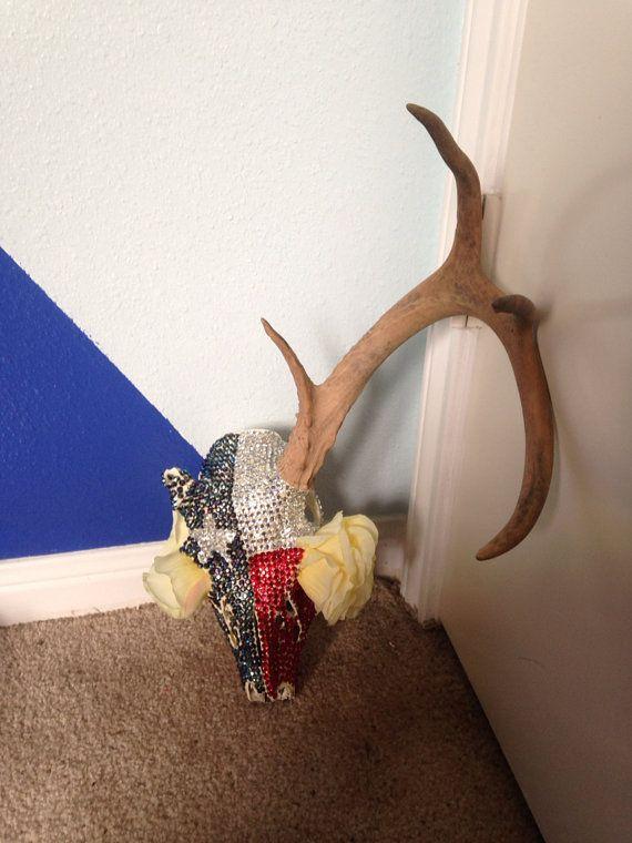 Blinged Out Texas Flag Deer Skull By Blingmommasskulls On