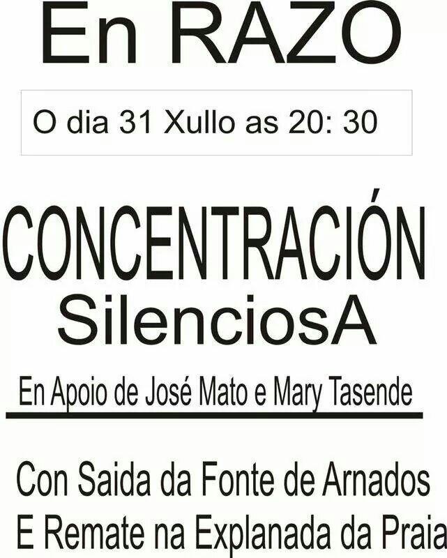 Segunda concentración de apoyo a José Mato y Mary Tasende