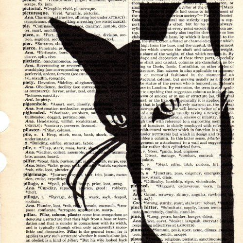Black white cat dictionary book page collage art print buy 3 get another 1 freeprint print