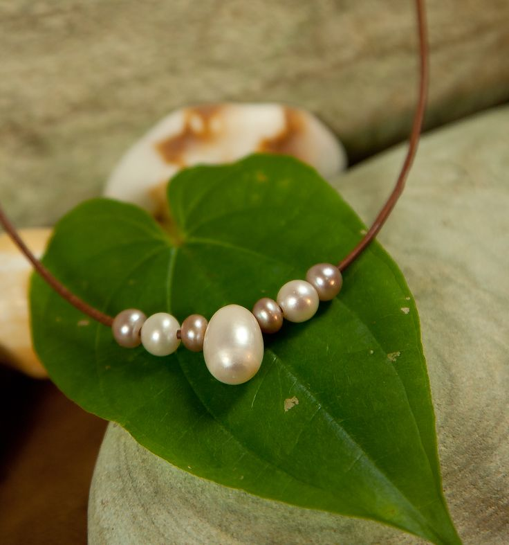 The Lily Necklace Fine Pearls + Leather Jewelry by designer Wendy Mignot