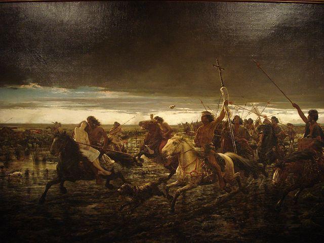 """""""La vuelta del malón"""" (1892). Oleo sobre tela, 192 x 131 cm. Ángel Della Valle (1852-1903). Argentina. En el Museo Nacional de Bellas Artes, en Buenos Aires."""