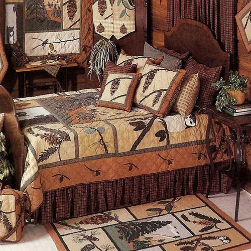 outdoor lodge decor | Pinecone Bedding Ensemble | Rocky Mountain Cabin Decor