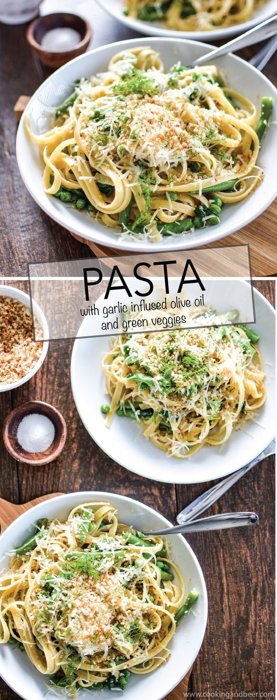 Pasta with Garlic Infused Olive Oil and Green Veggies is a simple recipe that is sure to be a hit at dinnertime! | www.cookingandbeer.com