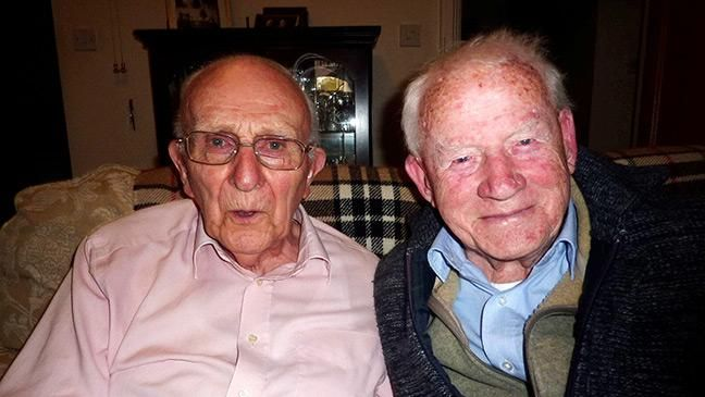 Two elderly neighbours were stunned to discover they both took part in the same World War II mission - with one dropping bombs to let the other storm a Nazi railway.  Graham Brown, 93 (above left), and George Rhodes, 99 (right), live in the same block of flats but have only just found out that one inadvertently helped the other during an Allied mission.