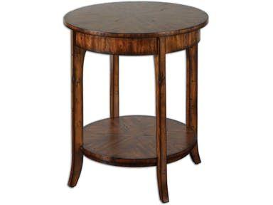 Uttermost Living Room Carmel Round Lamp Table 24228 - Penny Mustard - Milwaukee, Wisconsin