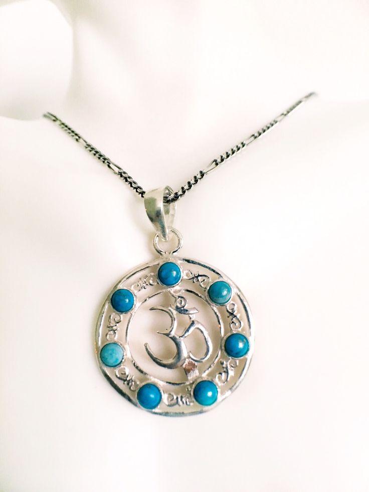 Beautiful Turquoise OM Pendant 925 Sterling Silver.  #turquoise #jewelry #yoga #Spiritualjewelry #yogainspiration