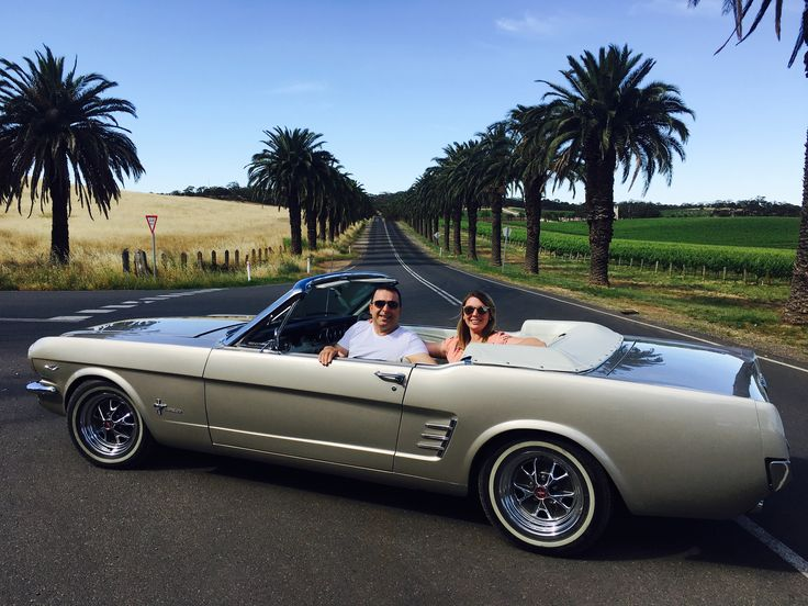 The only way to see the Barossa in a car.....our classic Mustang, enjoyed here by a lovely interstate couple.