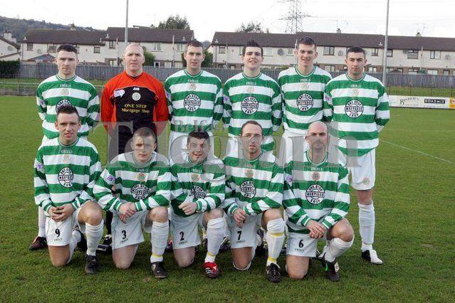 Football:Donegal Celtic soccer team front row from left Daniel Lyons, Malachy Harbinson, Kevin Duff, Noel Corrigan, and Brendan Allsopp. Back row from left Paul McVeigh, Sean McCreevey, Joseph Donnelly, Paul McDonald, Michael McClean, and Paul Bradley. 28/01/06
