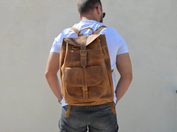 Leather Backpack, Mens Backpack, Leather Rucksack Men, Office Bag, Travel Bag, Made in Greece by Christina Christi Jewels, EXTRA LARGE.