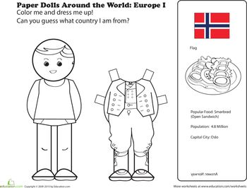 Worksheets: Paper Dolls Around the World: Europe I