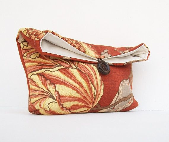 Floral Burnt Orange Cluch Purse Bridesmaid Gift Brown by EdensWake, $16.00