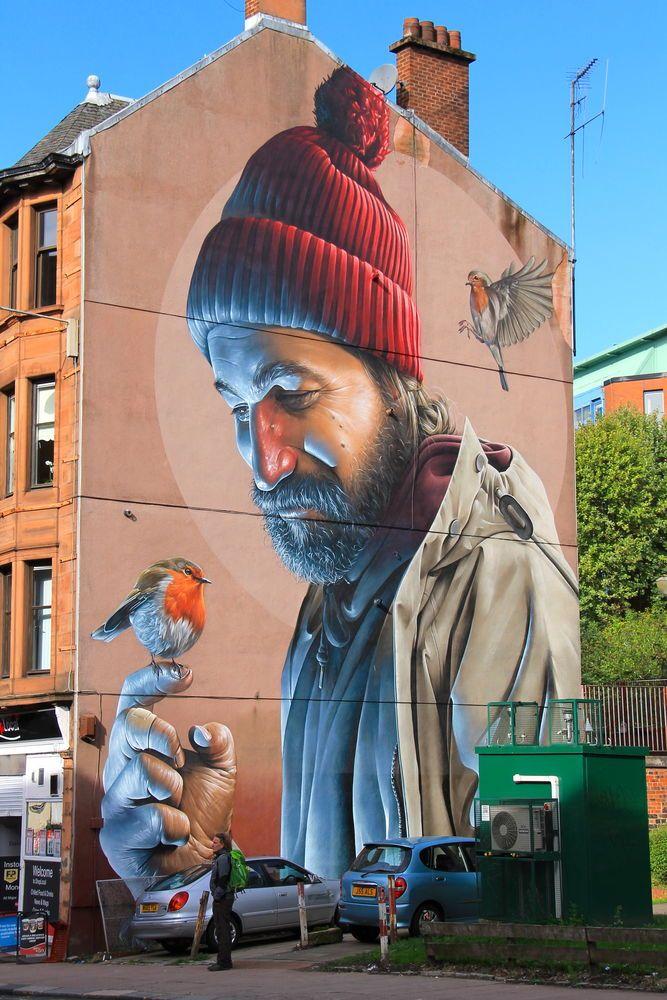 """Street Art Glasgow - """"St. Mungo"""", autor: Smug"""