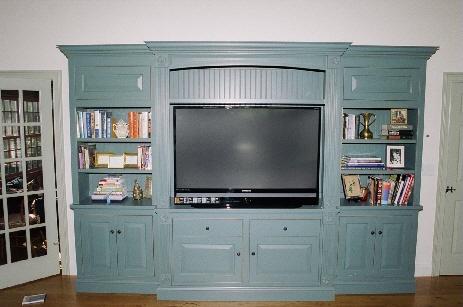 Painted entertainment center for flatscreen TV