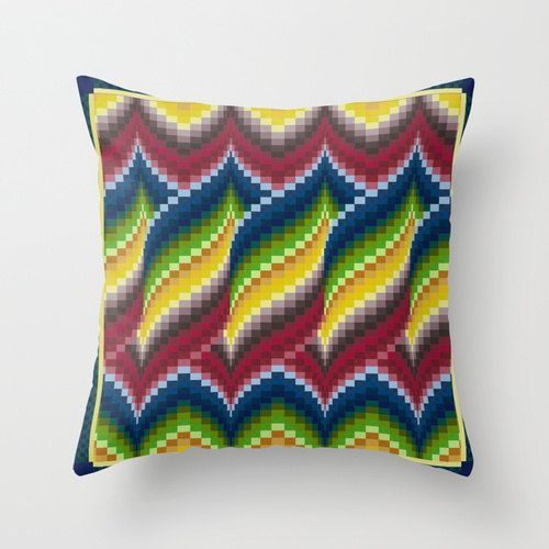 Bargello quilt style throw pillow cover, mother's day gift, quilter, embroiderer, blue, green, red, gold yellow, ombre, home decor