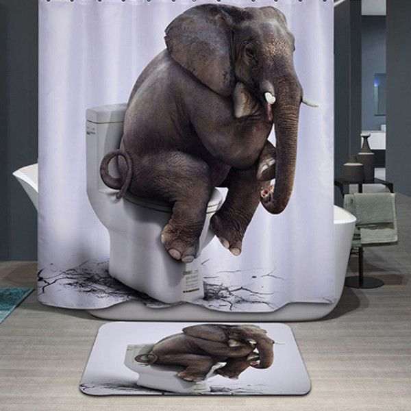 3D Elephant Shower Curtain Mat Set – PawzOutlet
