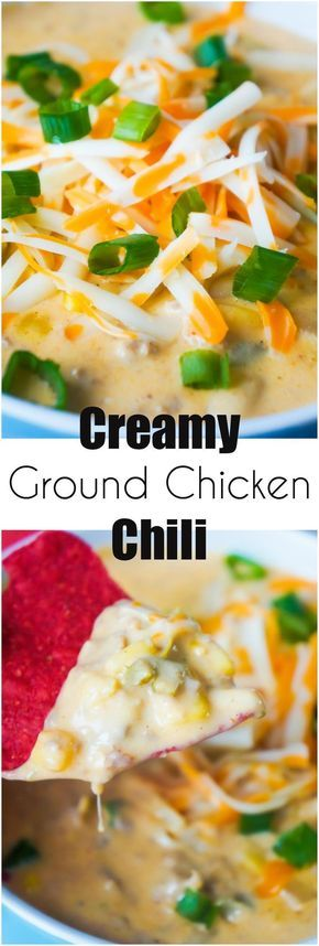 Creamy Ground Chicken Chili is a great winter comfort food recipe. This white chicken chili is an easy dinner recipe loaded with cream cheese, white beans, and corn.