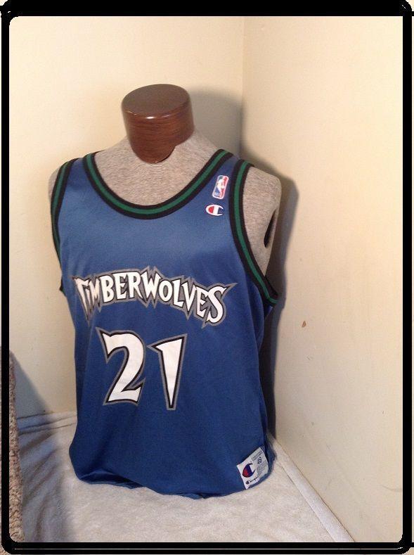 RARE KEVIN GARNETT SZ 48 Minnesota Timberwolves Jersey Champion VINTAGE NBA #Champion #MinnesotaTimberwolves