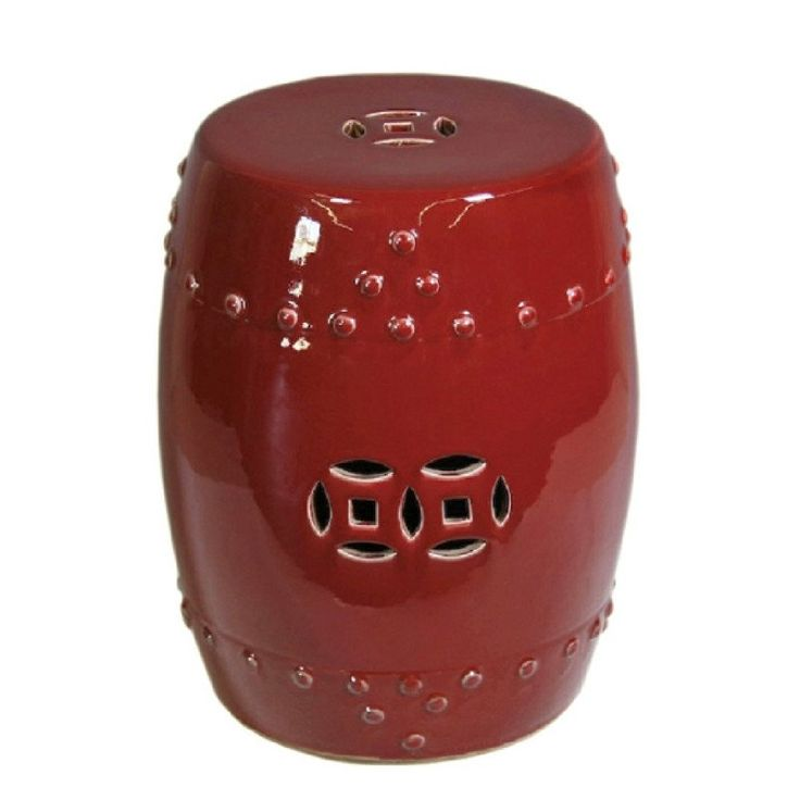 Oxblood Red Chinese Garden Stool