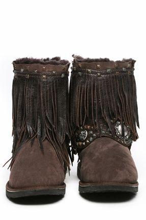 Kettle Black Fringe Rocker Boots in Chocolate