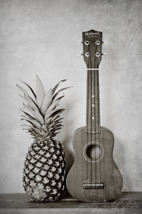 Still Life Fine Art Photo, Pineapple, Ukulele, Hospitality, Grunge Black and White, Hawaiian, Musical Instrument, Home Decor, 8x12 Print. $30.00, via Etsy.