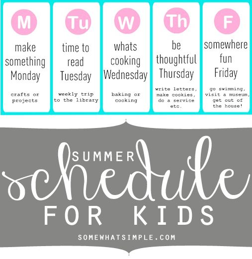 Fun summer schedule idea! Have a plan for what your kids will do this summer!