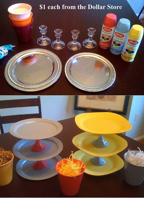 Cupcake Tray Idea?.... Made from the Dollar Store!! Using plates and candle