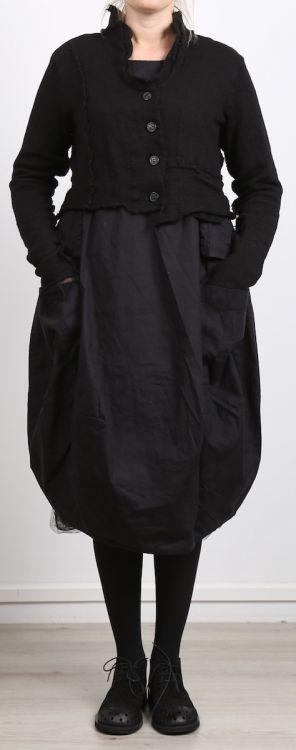 rundholz black label - Kleid mit Schößchen Leinen Stretch black - Winter 2017