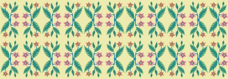 vintage tropical flowers and leaves