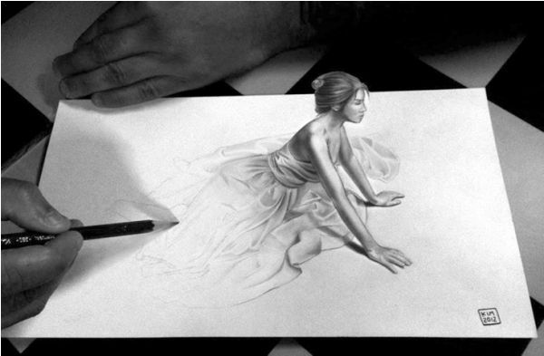 KIM – Sitting Girl - A great example of a 3D drawing. The girl slowly emerges from the paper into our world.