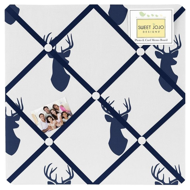 Sweet Jojo Designs Fabric Memo Board - Navy & White Stag