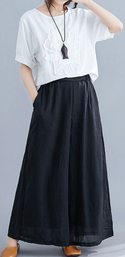 New women's trousers retro literary cotton and linen casual black trousers