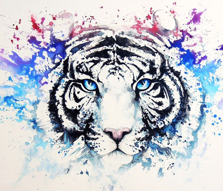 White Tiger painting by Louise Terrier