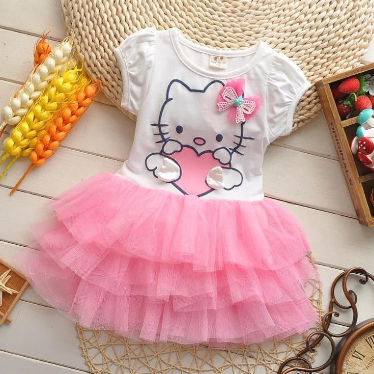 2015 summer style girls dress Hello kitty cartoon KT wings tutu dress bow veil Kids love children's clothing free shipping