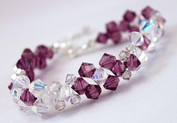 Violet bracelet Swarovski crystals and sterling by CrystalHandmade, $35.00