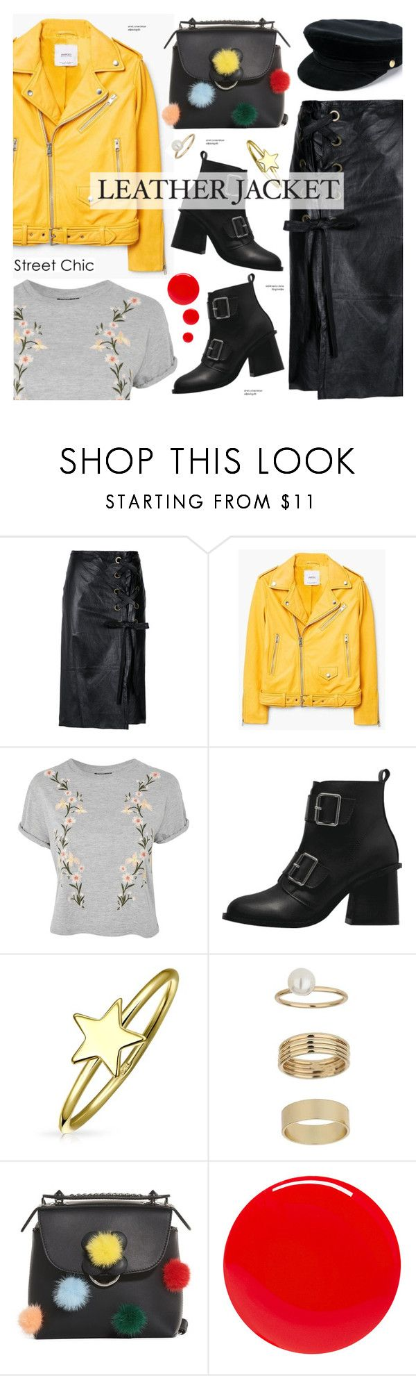 """""""Leather Jacket. midi skirt - street style"""" by cly88 ❤ liked on Polyvore featuring nk, MANGO, Topshop, Bling Jewelry, Miss Selfridge, Fendi, Tom Ford and Manokhi"""