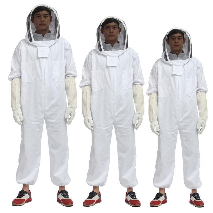 Apicultor apicultura traje de velo protector sombrero de abeja sombrero guantes cuerpo completo espesar conjunto