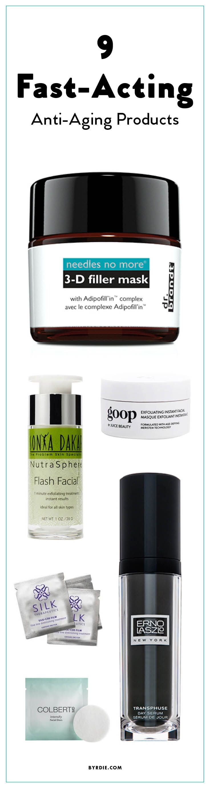 Fast-acting anti-aging products