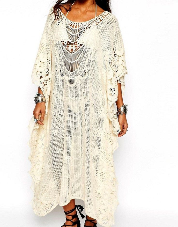 """BoHo's Back!! From California Amazing Crochet Cotton Cover Up Branded """"SURF…"""