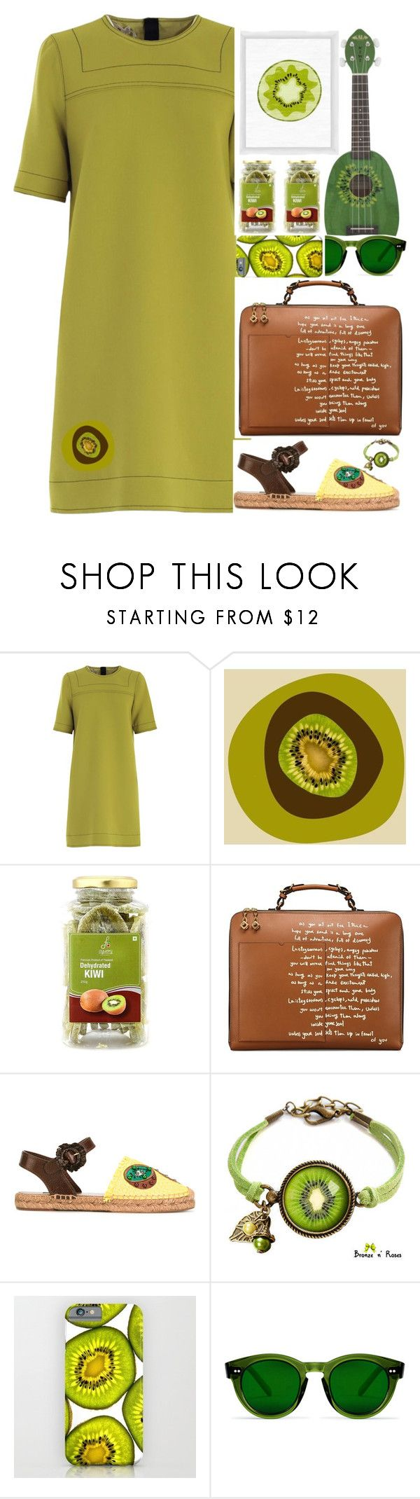 """2259"" by mykatty091 ❤ liked on Polyvore featuring Marni, Marmont Hill, Tory Burch, Dolce&Gabbana, PTM Images, GREEN and kiwi"