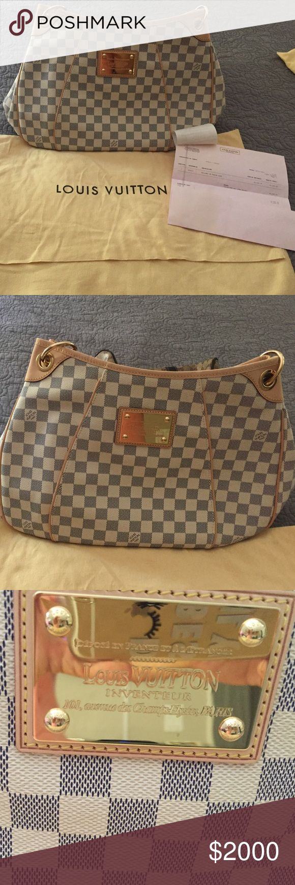LOUIS VUITTON GALLERIA PM DAMIER AZUR This si an auténtico LOUIS VUITTON DAMIER AZUR GALLERIA BAG never been used. Hobo style handbag is a signature damier canvas in azur. It features a vachetta cowhide leather looping shoulder trap, piping trim and brass hardware. This roomy and chic LV shoulder bag is perfect for everyday use!!!!! Louis Vuitton Bags Hobos