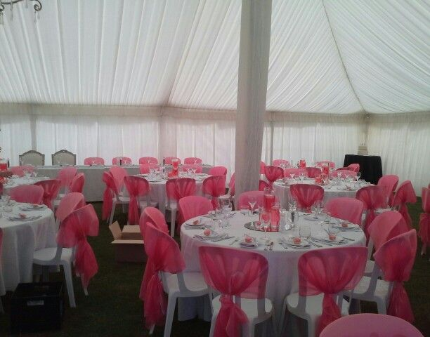 Stunning ♥ Marque set up Mardigras event hire, Touch of Elegance table decorations, chair covers & in background one of my wedding cakes www.mjscakes.co.nz delivered in sunny Hawkes Bay NZ to Te Awanga