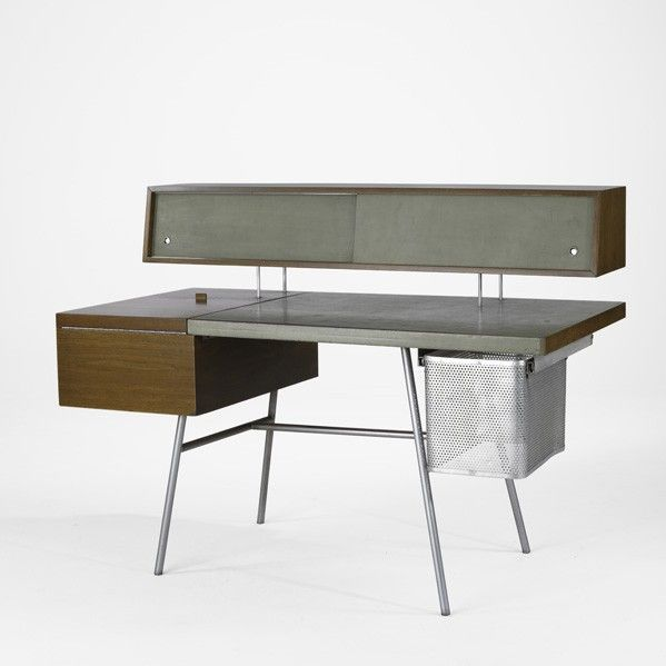 Attractive George Nelson; #4658 Walnut, Leather, Chromed Steel And Aluminum Home Office  Desk For Herman Miller, 1940s. | TABLED | Pinterest | George Nelson, ...